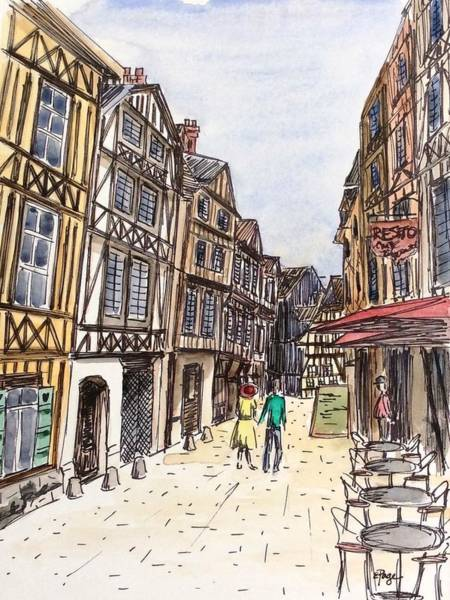 Painting - Rue Malpalu, Rouen, France I by Emily Page