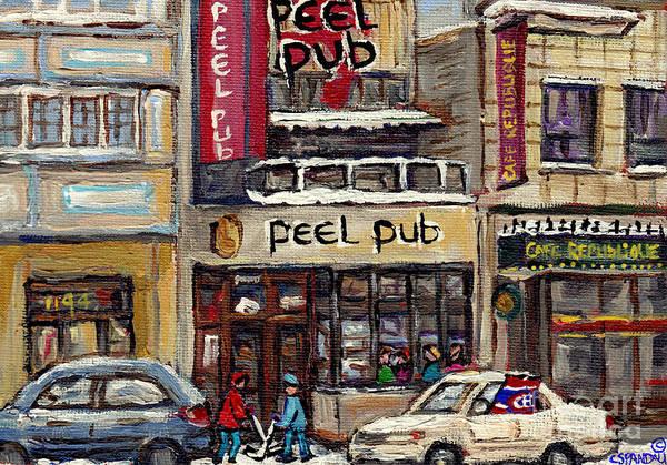 Wall Art - Painting - Rue Peel Montreal Winter Street Scene Paintings Peel Pub Cafe Republique Hockey Scenes Canadian Art by Carole Spandau