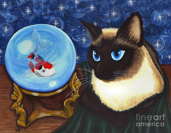 Painting - Rue Rue's Fortune - Siamese Cat Koi by Carrie Hawks