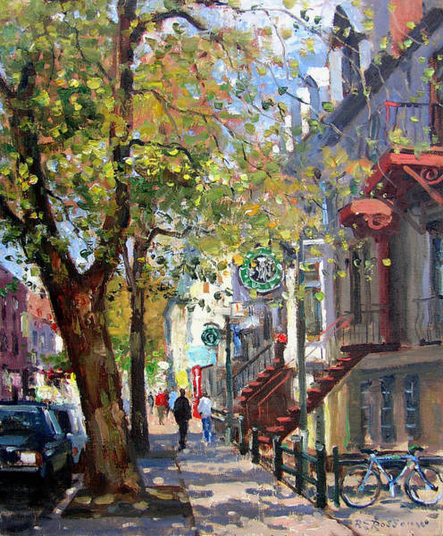 Montreal Street Scene Wall Art - Painting - Rue St Denis Montreal by Roelof Rossouw