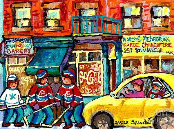 Painting - Rue St Viateur Colorful Montreal Stores And Hockey Art Painting For Sale Carole Spandau              by Carole Spandau