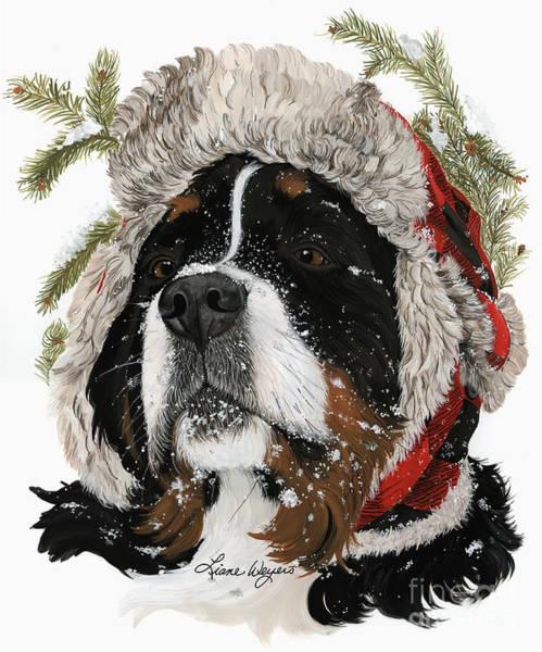 Dog Hat Wall Art - Painting - Ruff Winter by Liane Weyers