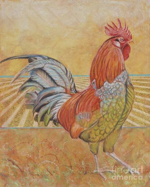 Wall Art - Pastel - Rufus The Rooster by Christine Belt