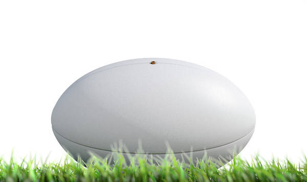 Oval Digital Art - Rugby Ball Resting On Grass by Allan Swart
