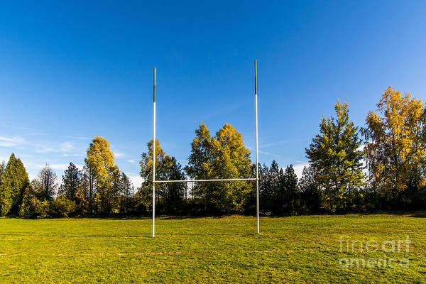 Playing Field Wall Art - Photograph - Rugby Field With Rugby Post by Bernard Jaubert