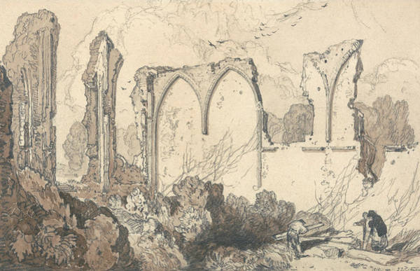 Drawing - Ruin Behind The Free School, Thetford, Suffolk by John Sell Cotman