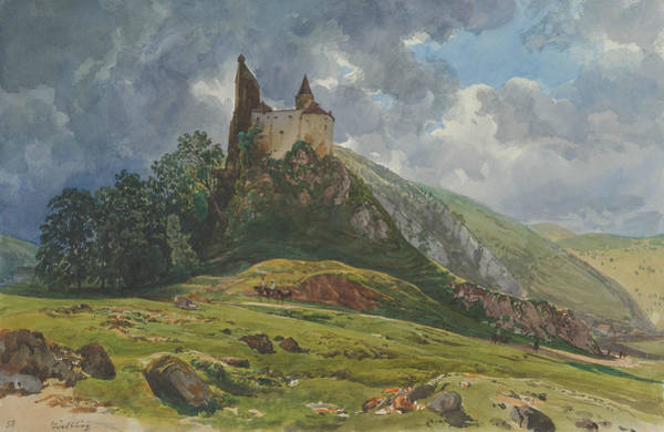 Drawing - Ruin Of Burg Schachenstein At Thorl In Styria by Thomas Ender