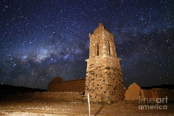 Photograph - Ruined Church Bell Tower And Milky Way Bolivia by James Brunker