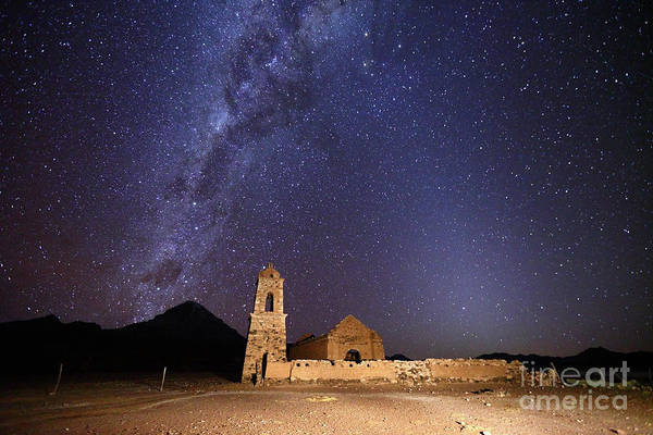 Photograph - Ruined Church Milky Way And Zodiacal Light Bolivia by James Brunker