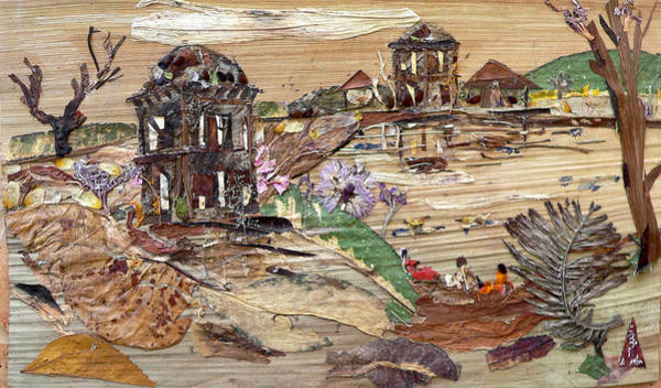 Eco Friendly Mixed Media - Ruined Structures Near Pond by Basant Soni