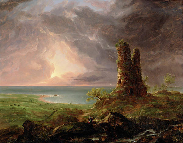 Rocky Coast Painting - Ruined Tower, Mediterranean Coast Scene With Tower by Thomas Cole