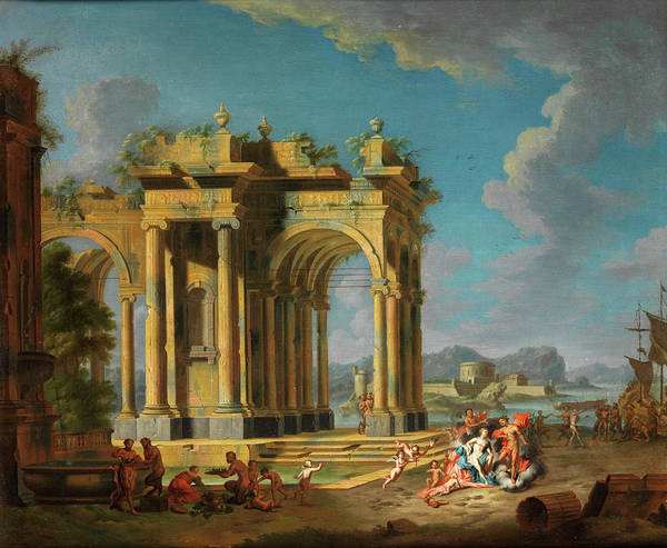 Collapse Painting - Ruinen Capriccio With Mythological Scene by Hendrik Frans van Lint