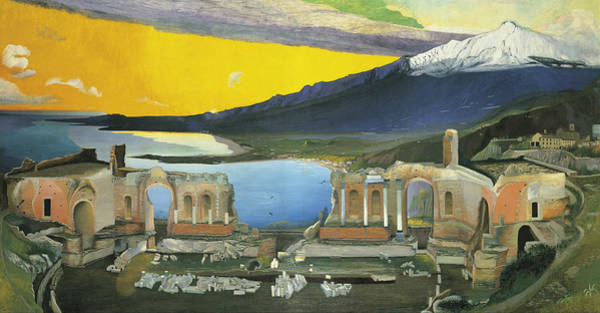 Painting - Ruins Of The Greek Theatre At Taormina by Tivadar Csontvary Kosztka