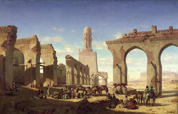 Mosque Painting - Ruins Of The Mosque Of The Caliph El Haken In Cairo by Prosper Georges Antoine Marilhat