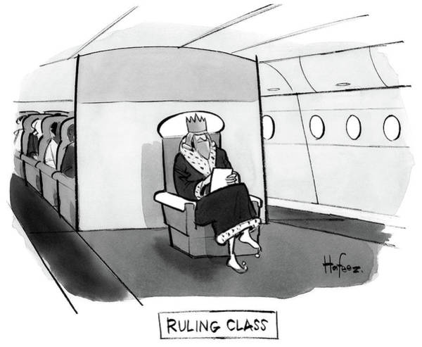 2017 Drawing - Ruling Class King Sits Alone In Separate Cabin On Airplane. by Kaamran Hafeez