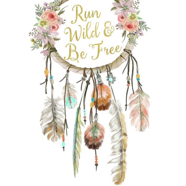 Woodland Digital Art - Run Wild And Be Free Dreamcatcher Boho Feather Pillow by Pink Forest Cafe