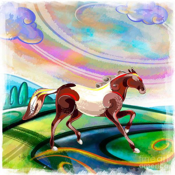 Wall Art - Digital Art - Runaway Horse by Peter Awax