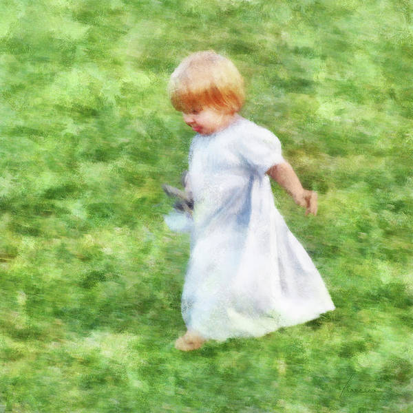 Fun Run Digital Art - Running Barefoot In The Grass by Francesa Miller