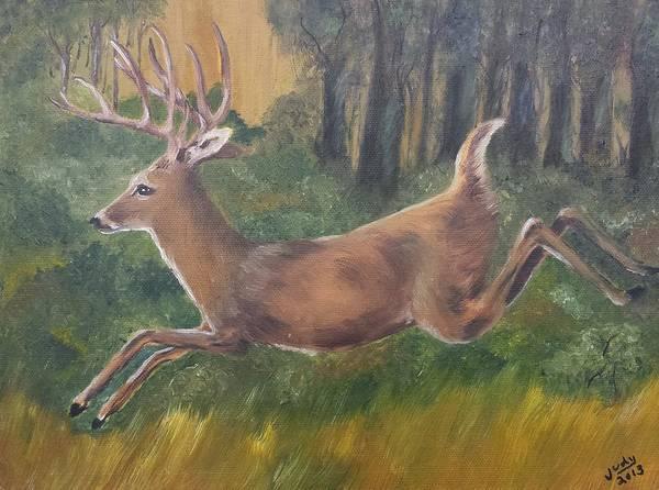 Wall Art - Painting - Running Buck by Judy Jones