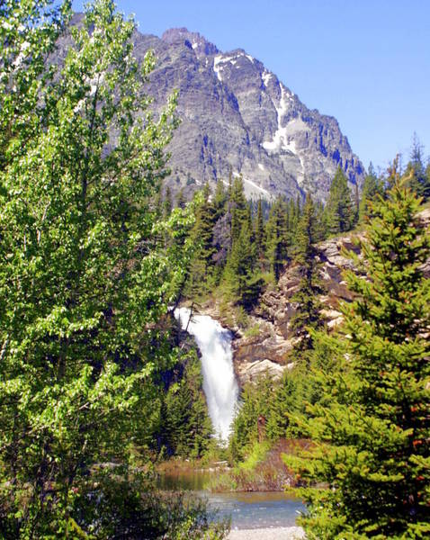 Running Eagle Falls Glacier National Park Art Print