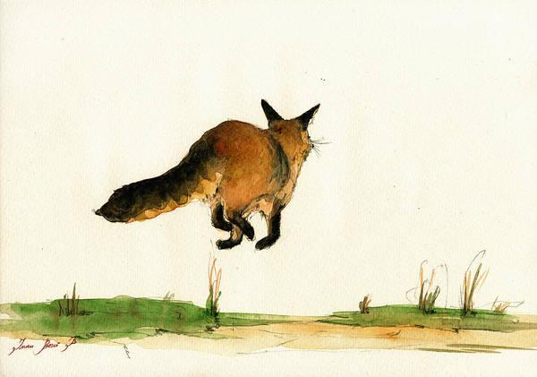 Wall Art - Painting - Running Fox Painting by Juan  Bosco