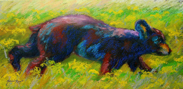 Wild Bear Painting - Running Free - Black Bear Cub by Marion Rose