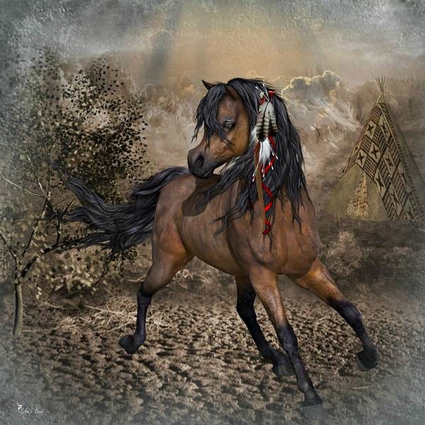 Horse Feathers Digital Art - Running Horse by Ali Oppy
