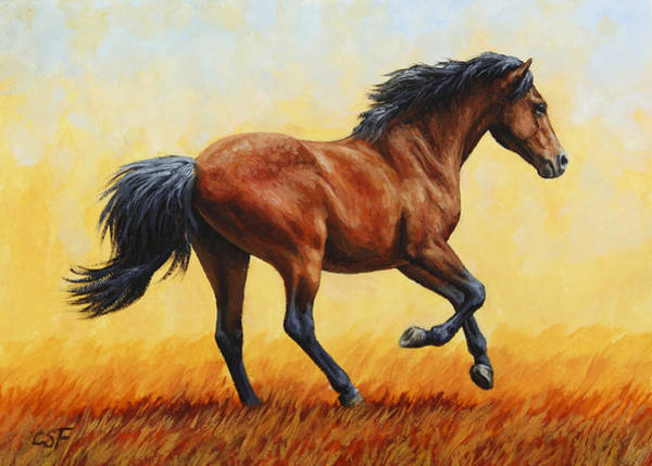 Wall Art - Painting - Running Horse - Evening Fire by Crista Forest