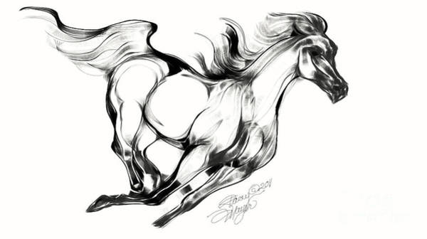 Night Running Horse Art Print