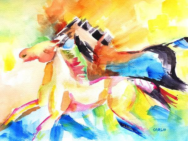 White Stallion Wall Art - Painting - Running Horses Color by Carlin Blahnik CarlinArtWatercolor