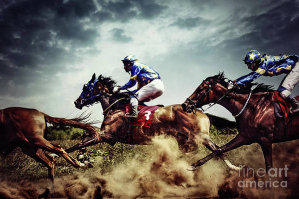 Photograph - Running Horses Competition Jockeys In Horse Race by Dimitar Hristov