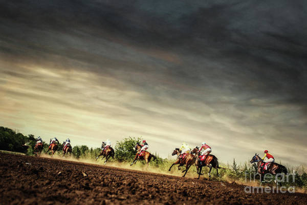 Photograph - Running Horses Competition On The Stormy Sky by Dimitar Hristov