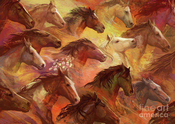 Wall Art - Digital Art - Running Horses by MGL Meiklejohn Graphics Licensing