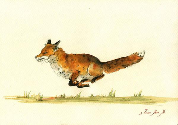 Kids Room Wall Art - Painting - Running Red Fox by Juan  Bosco