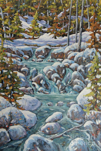 Wall Art - Painting - Running River Spring Melt Created By Richard T Pranke by Richard T Pranke