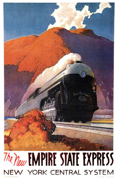 Vintage Train Painting - Running Steam Train, Vintage Travel Poster by Long Shot
