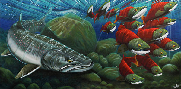 Trout Wall Art - Painting - Running The Gauntlet by Nick Laferriere