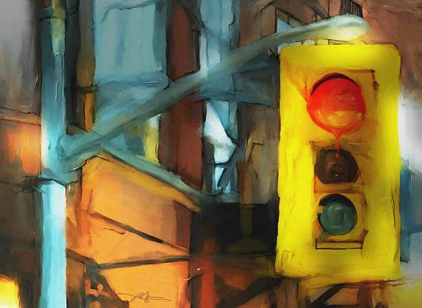Traffic Signals Painting - Running The Red by Bob Salo