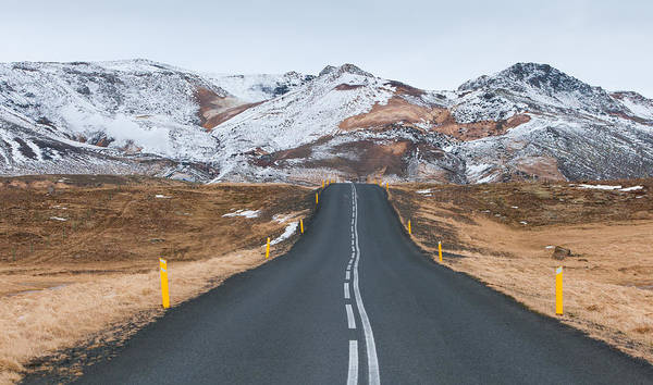 Icelandic Landscapes Wall Art - Photograph - Rural Empty Mountain Road Iceland by Michalakis Ppalis