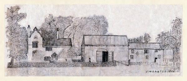 Drawing - Rural English Farm Dwelling Classic by Donna L Munro