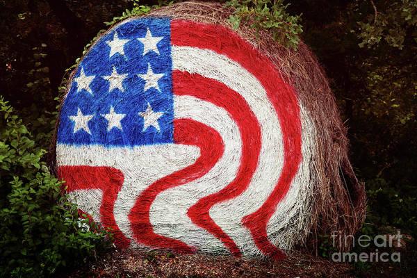 Wall Art - Photograph - Patriotic Hay Bale by Toni Hopper