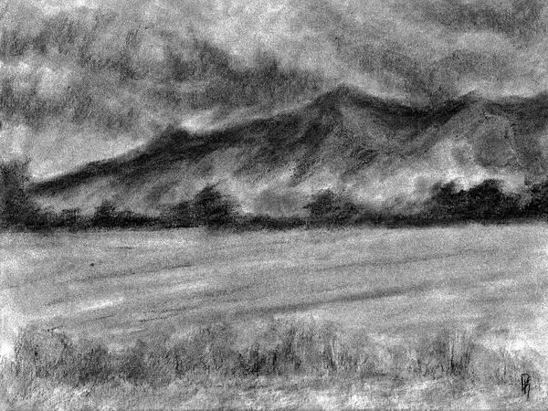 Semi Abstract Drawing - Rural Landscape Study by David King