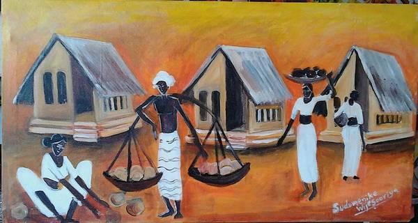 Wall Art - Painting - Rural Life by Sudumenike Wijesooriya