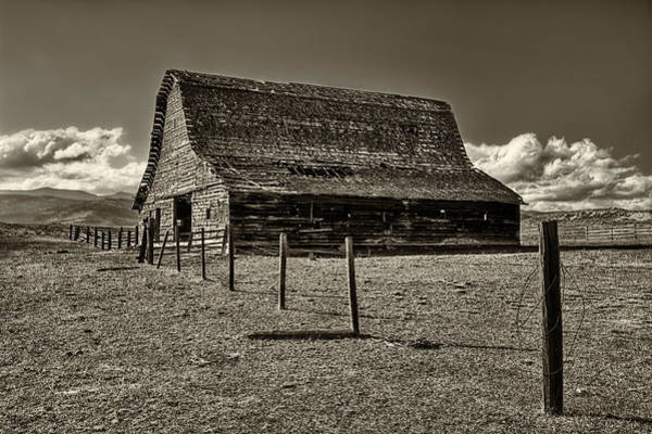 Photograph - Rural Montana Barn In Sepia by Mark Kiver