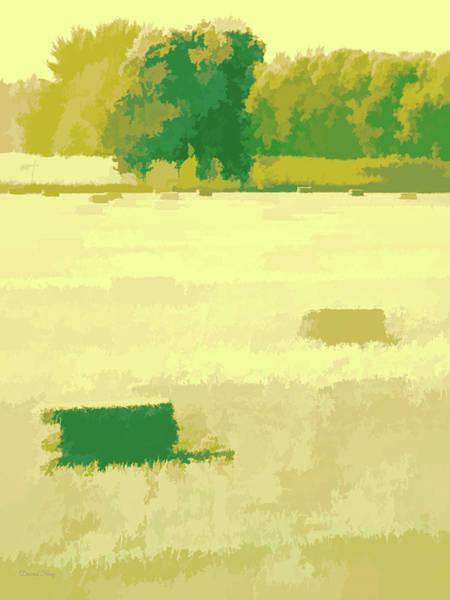 Digital Art - Rural Pop No 5 Hay Field With Bales by David King