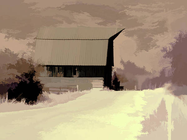 Shed Digital Art - Rural Pop No 6 Barn On Country Road by David King