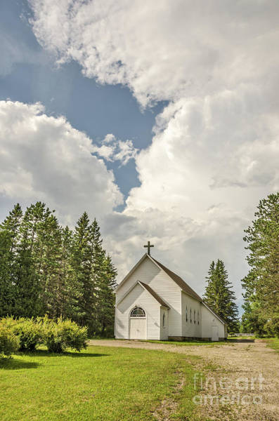 Photograph - Rural White Church With A Cross by Sue Smith