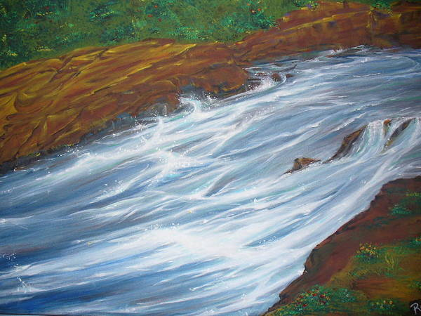 Wall Art - Painting - Rushing River by Raza Mirza