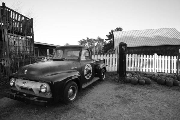 Photograph - Russel Farms 1951 Ford F100 Black And White by Toby McGuire