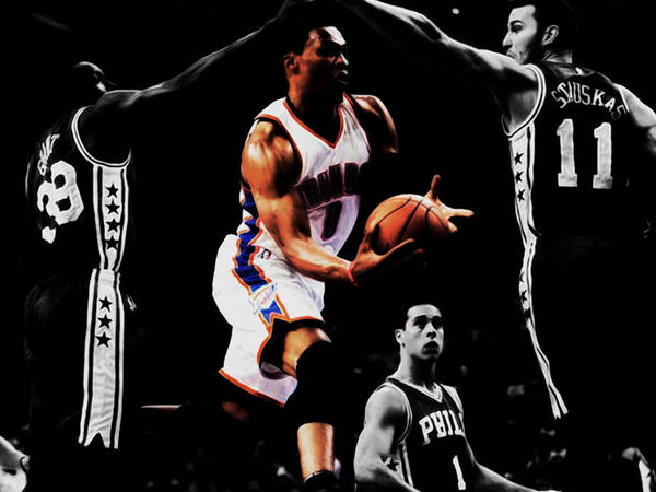 Mavericks Mixed Media - Russell Westbrook Going Underneath by Brian Reaves